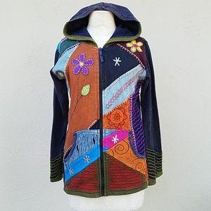 Patchwork zip hoody